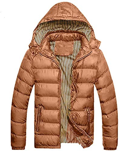 Men's Down Parka Packable Coat Casual Solid Zipper Hoodies Jacket with Pocket