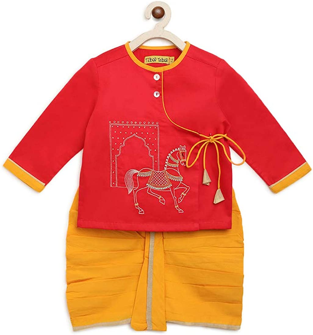 Baby Boy Cotton Embroidered Dhoti Set Horse (Red, 6-12 Months)