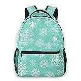 Nongmei Mochila de viaje para computadora portátil,Navidad de copos de nieve blancos sobre turquesa,mochila de día antirrobo resistente al agua para empresas,delgada y duradera