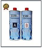 Resin Pro RESINE EPOXY Transparente – Effet Eau 1.6 KG de créations artistiques et de Bijoux, de réparation ou de revêtements de Surface