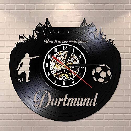 ZZLLL Reloj de Pared con diseño de Horizonte de la Ciudad Nacional de Dortmund, Reloj de Pared de Vinilo con decoración para Ventilador de Estadio de fútbol