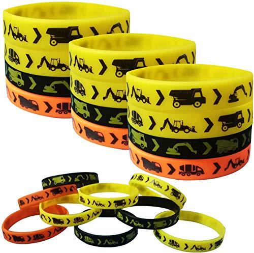 24PCS Construction Zone Party Favors Rubber Bracelets - Construction Birthday Party Supplies Car Decorations Goodie Bag Stuffers Slicone Wristbands