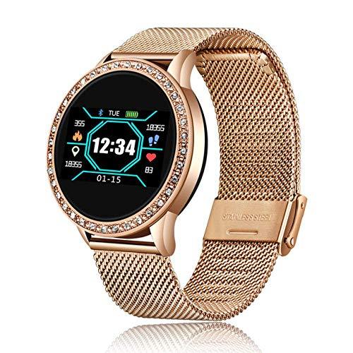 SSXZ Reloj Inteligente Reloj Inteligente de Moda Mujer Hombre Reloj Deportivo a Prueba de Agua Monitor de sueño de frecuencia cardíaca para iPhone Recordatorio de Llamada Bluetoo Gold