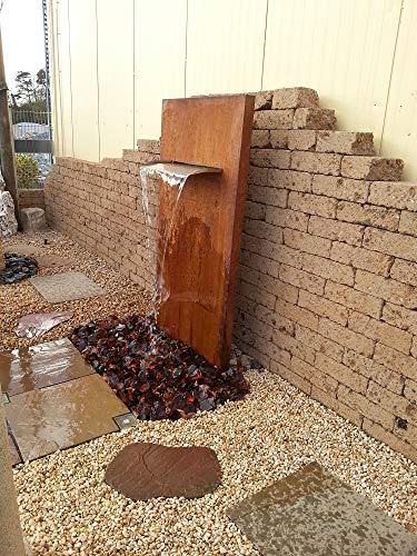 garten-wohnambiente Wasserwand 175/90/30 cm mit Wasserfall 75 cm Cortenstahl Roststahl Cortenstahlwand Wasserfall Wasserauslauf