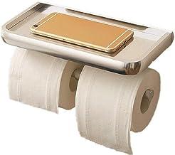 XYZMDJ Metalen toiletpapierhouder-Dual Roll Toiletpapierhouder met telefoonplank, Utility RVS Tissue Dispenser, Roestbeste...