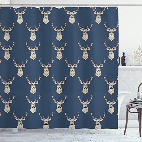 ABAKUHAUS Hirsch Duschvorhang, Retro Hipster Tiere, Waschbar & Leicht zu pflegen mit 12 Haken Hochwertiger Druck Farbfest Langhaltig, 175 x 200 cm, Schieferblau Tan