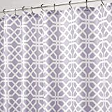 mDesign Decorative Trellis Print Easy Care Fabric Shower Curtain with Reinforced Buttonholes, for Bathroom Showers, Stalls, and Bathtubs, Machine Washable- 72 inches x 84 inches - Light Purple