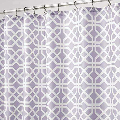mDesign Decorative Trellis Print Easy Care Fabric Shower Curtain with Reinforced Buttonholes, for Bathroom Showers, Stalls, and Bathtubs, Machine Washable- 72 Inches x 72 Inches - Light Purple