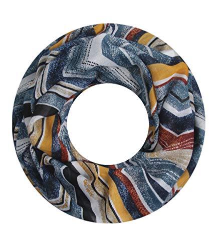 Majea NEUE Saison Damen Loop Schal viele Farben Muster Schlauchschal Halstuch in aktuellen Trendfarben (blau 1)