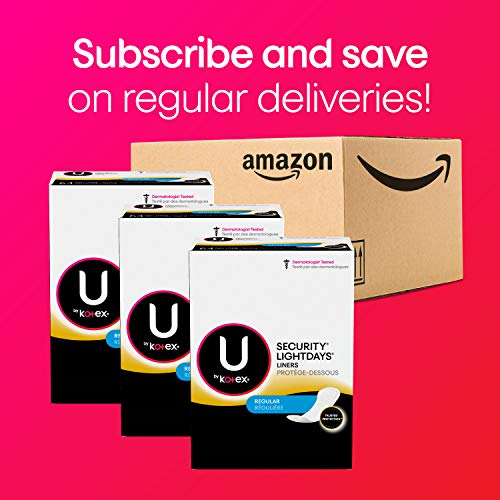 U by Kotex Lightdays Panty Li   ners, Regular, Unscented, 516 Count (4 Packs of 129) (Packaging May Vary)