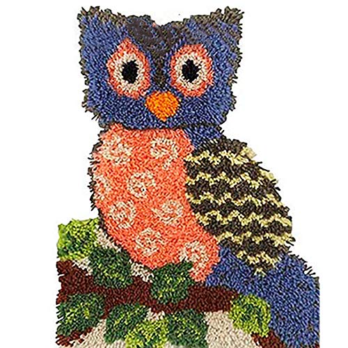 Latch Hook Rug, Latch Hook Kits Owl 3D Pattern Printed Canvas Embroidery Shaggy Home Decoration Nice Gift 20.4' X 15' (52X38cm)
