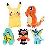 xuekun Juguetes De Peluche 5 Unids / Set Pokemones Juguetes De Peluche Squirtle Muñecos De Peluche Juguetes De Peluche para Niños Regalo De Cumpleaños De Navidad 20-60Cm