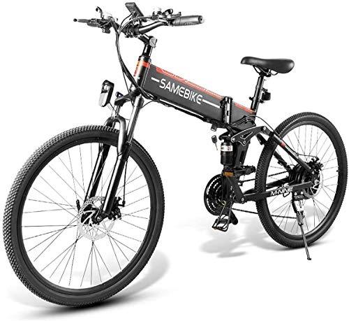XCBY Bici Elettrica, Bici Pieghevole,MTB 26 Pollici 48V 10,4 Ah 350 W, Mountain Bike Elettrica Pieghevole 21 velocità
