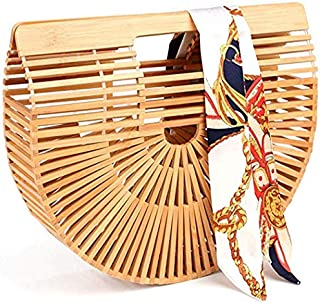 Bamboo Bag for Women,Handmade Bamboo Tote Bags Handle Handbag for Summer Sea with Scarf