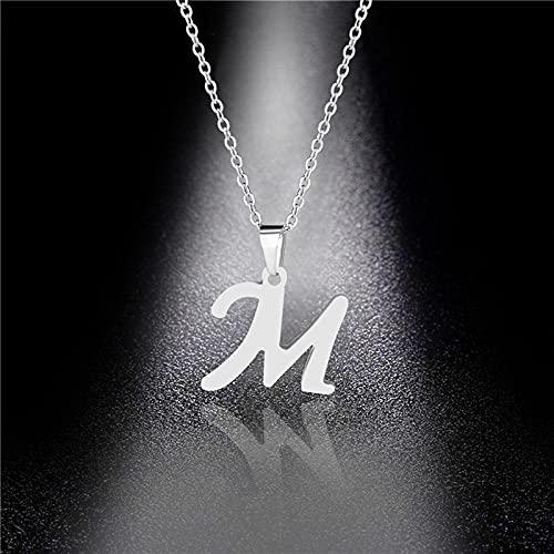 YQMR Colgante Collar para Mujer,Elegante Collar De Mujer Diseño De Moda Plata Hueco Grabado M Letra Colgante Ladyies Joyería Amuleto Regalo para Novia Amiga Mamá