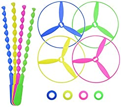 POPLAY Twisty Pull String Flying Saucers/Helicopters, 40 PCS