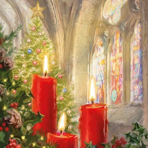 20 servetten kaarsen in kerk als tafeldecoratie voor Kerstmis 33x33cm