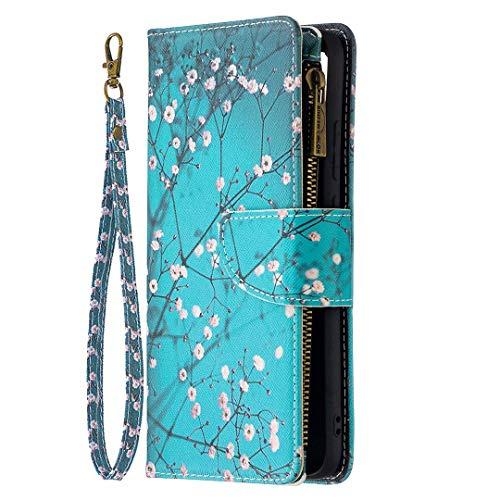 Miagon 9 Slot per Schede Custodia per Samsung Galaxy Note 20,Colorato Cerniera Portafoglio a Libro in PU Pelle Flip Cover Kickstand Magnetica Case Antiurto,Blu Fiore