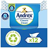 Andrex Washlets- Classic Clean Flushable Toilet Wipes - certified 'Fine to Flush', Plastic Free & Biodegradable Wet Wipes, 12 Moist Toilet Tissue Packs, 40 Count