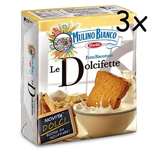 3x Mulino Bianco Fette biscottate Le Dolcifette 315g kekse Zwieback brot