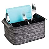 mDesign cubertero con 5 compartimentos - Organizador de cubiertos para ordenar utensilios -Bandeja para cubiertos y artículos de cocina - Color: ahumado/negro