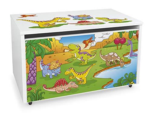 LEOMARK Blanco Caja de madera banco con almacenamiento para juguetes con Asiento, Baúl de juguetes sobre ruedas, Dim: 71 cm x 40.5 cm x 45 cm/WxDxH/ (DINO)