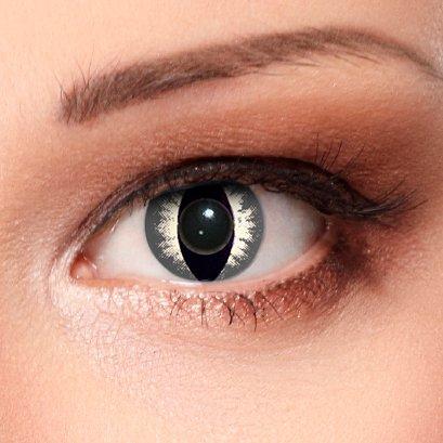 """Designlenses Katzenaugen Kontaktlinsen\""""Grey Cateye\"""", grau, Ohne Sehstärke, 2 Stück"""