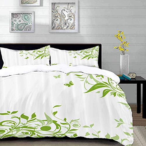 Qoqon bedding - Duvet Cover Set, Green,Spring Time Theme with Victorian Artistic Design Branches Butterfly,Blue Orange Taupe,Microfibre Duvet Cover Set with 2 Pillowcase 50 X 75cm
