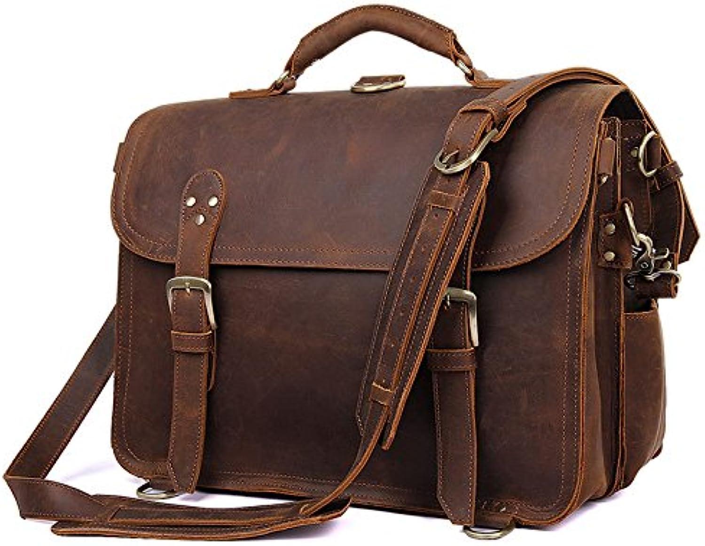Men's Shoulder Bags Leather Men's Bags Crazy Horseskin Retro Men's Shoulder Crossbody Bags (color   Brown, Size   L)