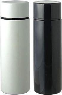 ミニボトル ステンレス マグボトル 130ml 2本セット 水筒 保温 保冷 ポケットイン 直のみ 携帯ボトル 軽量 120g (白・ブラック)