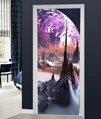 Preisvergleich Produktbild jdsjadjw Tür Aufkleber Wandaufkleber 3D Fantasie Planeten Wandbild Wandaufkleber DIY Tür Abdeckung Küche Dekoration Zubehör Moderne 3D Wandaufkleber 77X200 cm