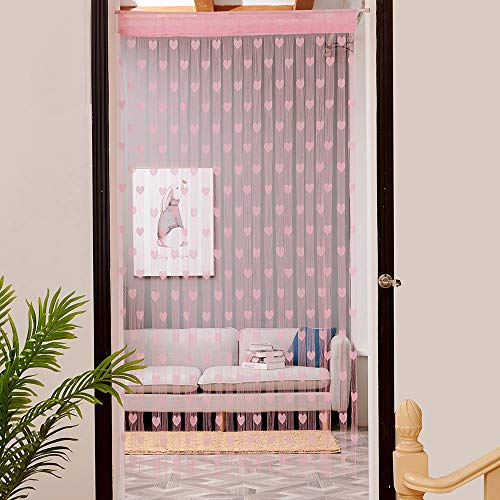 jieGorge 100x200cm Love Heart String Curtain Window Door Divider Sheer Curtain Valance , Home Products Sales , for Halloween Day (Pink