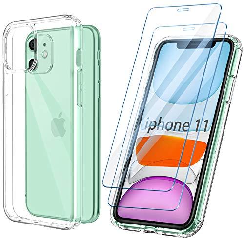 ivencase Coque Compatible avec iPhone 11 Transparente 6.1 Pouces Anti-Jaunissement et 2 Verre Trempé Protection écran
