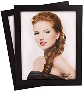 Freeprint 8x10 inch Photo Picture Frame 2-Pack for Table Display Made of Composite Wood and Real Glass, Black