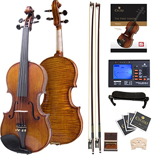 Cecilio 4/4 CVN-700 Highly Flamed 1-Piece Back Ebony Fitted Professional Solid Wood Violin