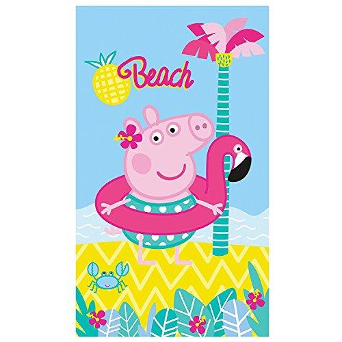 PEPPA Wutz Badetuch · PEPPA PIG BEACH Strandtuch · Palme, Strand & Meer · 70x120 cm · 100% Baumwolle