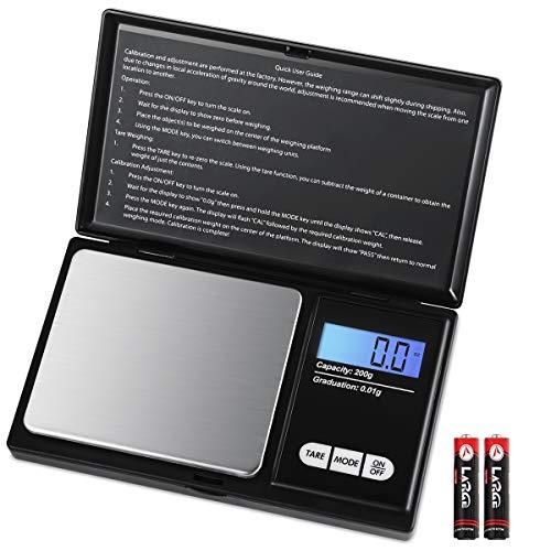 AMIR Báscula Digitales de Precisión, 200g / 0.01g Balanzas de Portátiles, Escala de Joyería con Pantalla LCD Retroiluminada y Función de Tara, Acero Inoxidable (Batería Incluida)