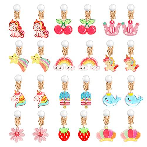 HIFOT 12 Paare Clip Ohrringe Mädchen, Einhorn Regenbogen Erdbeere Blume Ohrclips Set Geburtstag Geschenk Party Favors Schmuck Zubehör für Kinder