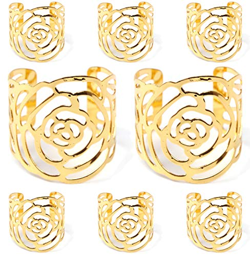 GlobalDream Serviettenringe Gold, 8 Stück Serviettenhalter Rose Metall Serviettenschnallen für Hochzeit Geburtstag Weihnachten Taufe Tisch Dekoration