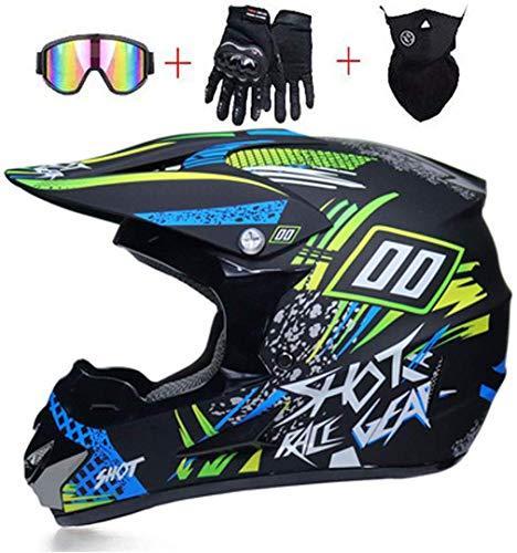 MRBEER Mopedhelm Motocross Helm Herren, Motorradhelm Set mit Visier Brille Handschuhe Maske Damen Fullface Motorrad DH Cross Offroad Enduro Mountainbike Helme,S