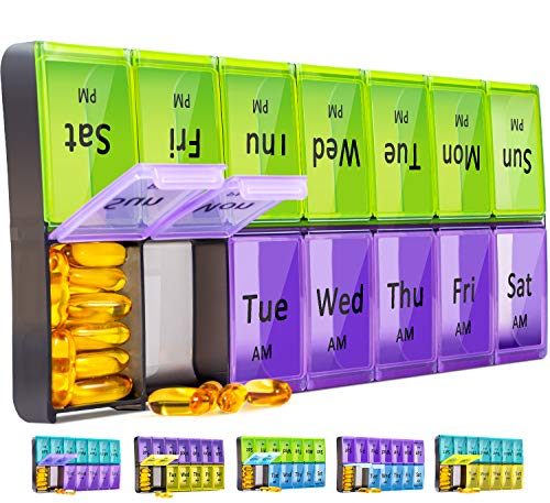 Extra Large Pill Organizer 2 Times a Day, Weekly XL AM PM Pill Case, 7 Day Pill Box Twice a Day, Oversized Daily Medicine Organizer for Vitamins, Big Pill Container, Medication Dispenser(Green+Purple)