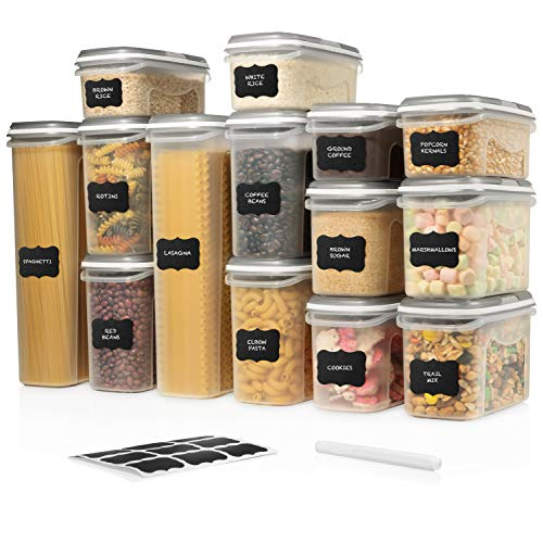 LARGE SET 28 pc Airtight Food Storage Containers with Lids (14 Container Set) Airtight Plastic Dry Food Space Saver Boxes, One Lid Fits All - Stackable Freezer Refrigerator kitchen Storage Containers