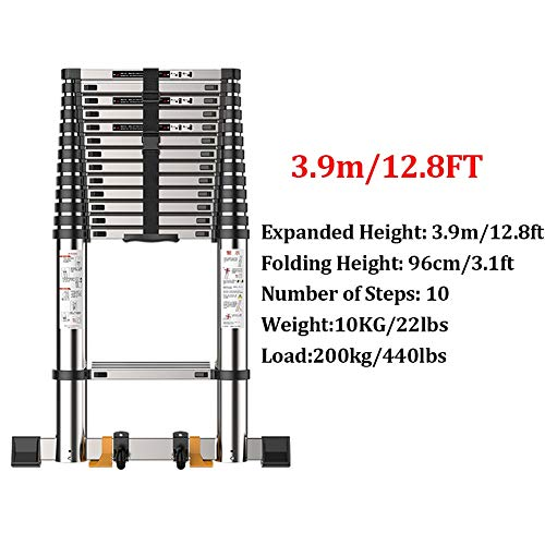 Telescoping Ladder Climb with Stabilizer Bar, Aluminum Extension Ladder for Home Loft Office Engineering Household (Size : 3.9m/12.8ft)