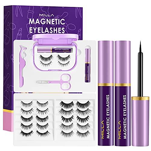 Magnetic Eyeliner and Eyelashes Kit,12 Pairs MILLA Magnetic Reusable...