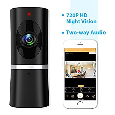 Wireless Security Camera, Takihoo WiFi IP Indoor Home Baby Pet Surveillance Camera Monitor 720P HD Motion Detection 2-Way Audio Night Vision 180 Wide Angle Fisheye P2P Remote View IR Camera Panoramic