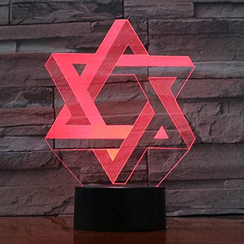 Geometrische hexagon 3D-illusielamp, drie patronen en 7 kleurverandering, decoratieve lamp, perfect cadeau voor kinderen