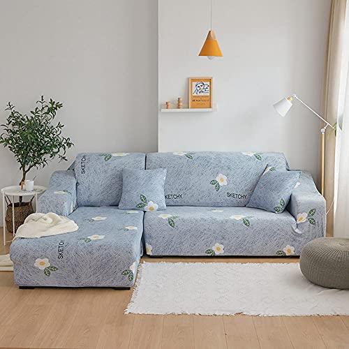Funda De Sofá 4 Plazas Azul Fundas Sofa Elasticas Cubre Sofa Antideslizante Protector Funda para Sofá con Diseño Moderno Flor Blanca Universal Funda Cubre Sofas