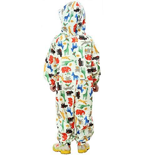 FILOWA Kids Raincoat Puddle Suits Girls Boys Hooded Yellow Rainwear Lightweight Onesies Waterproof Rainsuit Dinosaur Unicorn Pattern Portable Breathable PVC Transparent Hat Brim Zipper 1-3 Years
