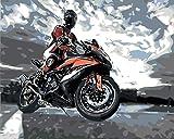Pinturas al óleo digitales de bricolaje para adultos y niños pintadas con pintura al óleo digital set de regalo preimpreso lienzo artista decoración - Motociclista 40x50cm