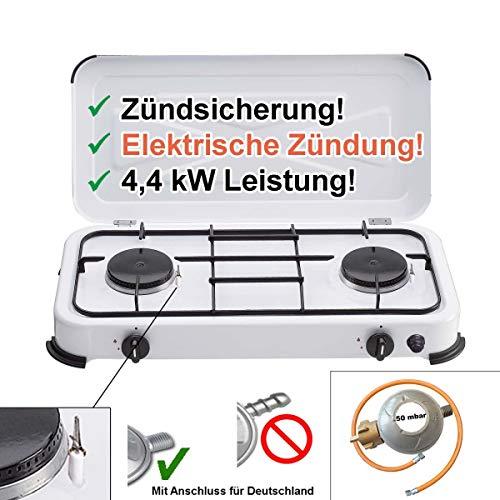 CAGO Camping-Kocher Gaskocher 2-flammig 50 mbar Weiss mit Zündsicherung, mit elektrischer Zündung Gasschlauch Gasregler Gasherd 2 Brenner